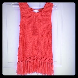 Beautiful orange crocheted tank with tassels